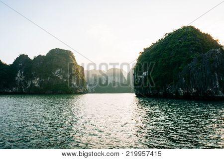 HALONG bay in vietnam. UNESCO World Heritage Site. Karst landforms in the sea