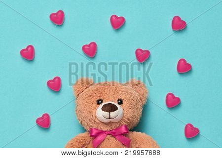 Valentines Day. Love. Teddy Bear with Candies Sweets Hearts. Minimal. Art. Cute bear on Pink hearts background, Dessert. Love, Fun Romantic style, Vintage creative