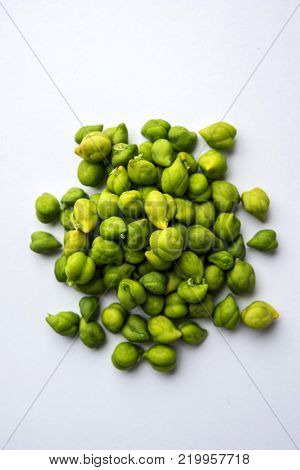 Fresh Green Chickpeas or Chick peas also known as harbara or harbhara in hindi and Cicer is scientific name