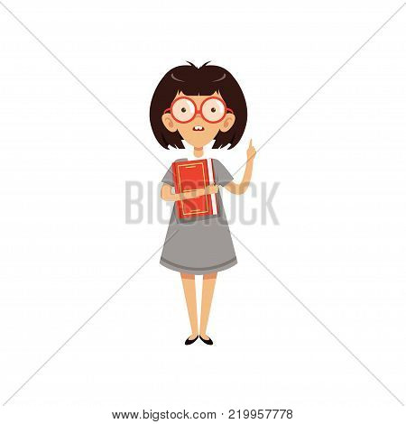 Funny nerd girl holding book and index finger up. Cartoon female character with brown hair and two large front teeth. Smart kid in glasses and gray dress. Flat vector illustration isolated on white.