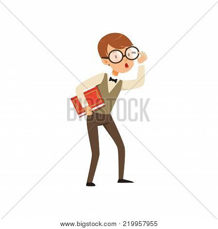 Quirky boy character holding book in hand. Nerd kid with surprised face expression. Smart pupil character dressed in vest, shirt and pants. Flat vector illustration isolated on white background. poster