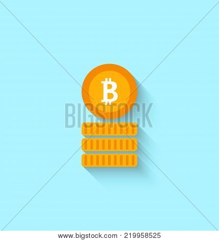 Bitcoin Sign for Internet Money. Crypto Currency Symbol. Simple Flat Icon - Illustration Vector