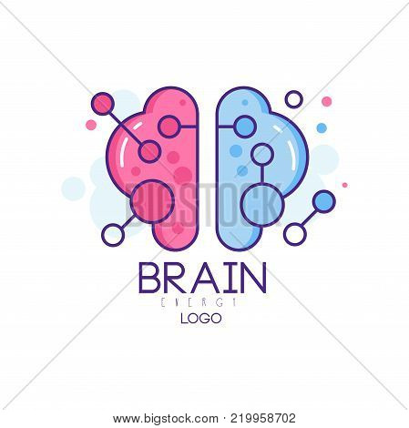 Colorful line art design with left and right hemispheres of human brain. Symbol of creative mind and thinking. Logo for smart technologies company or development center. Isolated vector illustration.
