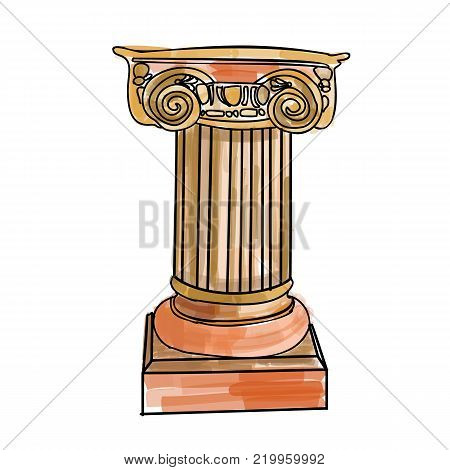 Stylized Greek doodle column Doric Ionic Corinthian columns. Vector illustration. Classical architectural support.