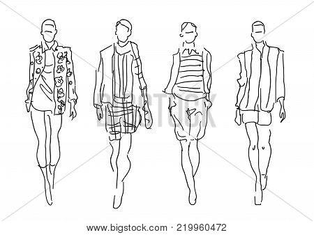 Sketch Fashion Womenq models - vector illustration