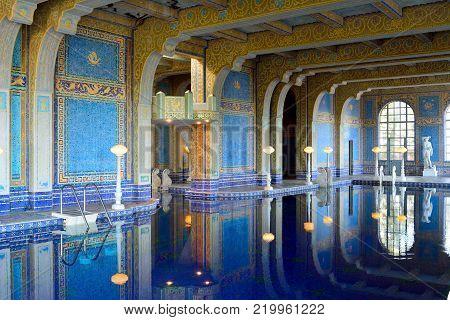 San Simeon, California, United States of America - November 27, 2017. Indoor pool at the Hearst Castle in San Simeon, CA.