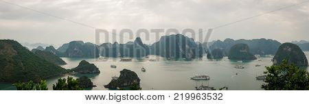 Karst landforms in the sea, the world natural heritage - halong bay in Vietnam