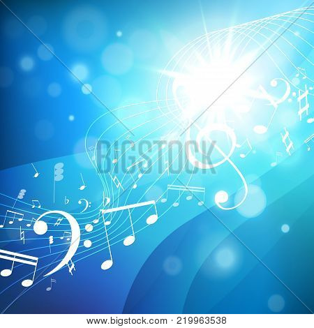 Colorful music background. Music notes. Music key. Vector illustration