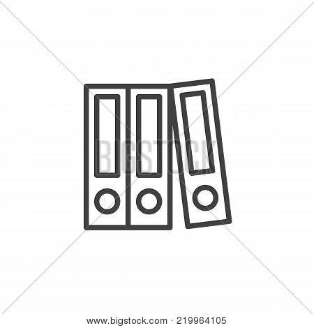 Cabinets data storage line icon, outline vector sign, linear style pictogram isolated on white. Ring binder, office file folder symbol, logo illustration. Editable stroke