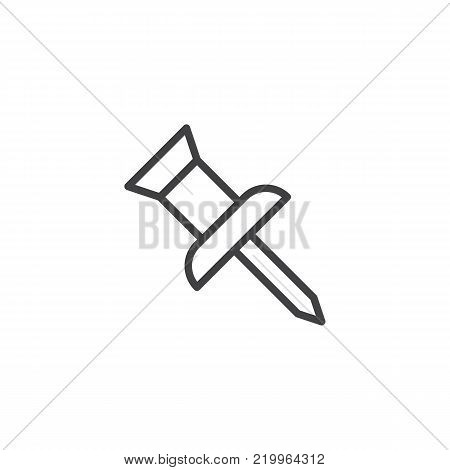 Pushpin line icon, outline vector sign, linear style pictogram isolated on white. drawing pin symbol, logo illustration. Editable stroke