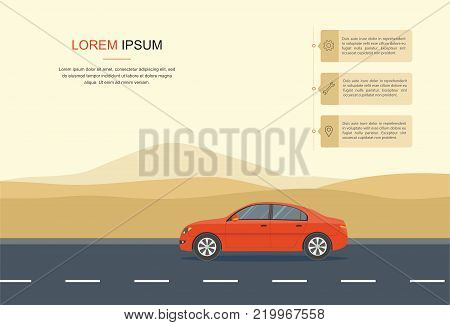 Red Car Driving on a Road in the desert . information, Rental car and Auto leasing banner