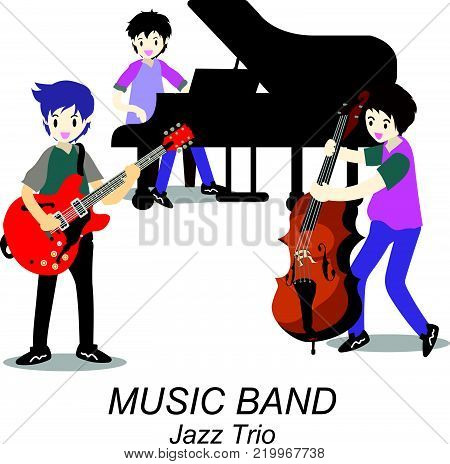 Musicians Jazz Trio,Play guitar,bassist,Piano. Jazz band.Vector illustration isolated on background in cartoon style