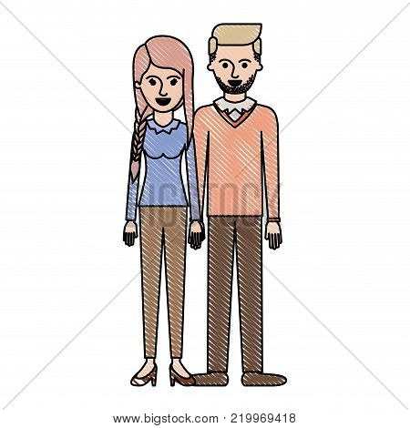 couple in colored crayon silhouette and her with blouse long sleeve and pants and heel shoes with braid and fringe hairstyle and him stubble beard and sweater and pants and shoes with side parted hairstyle vector illustration