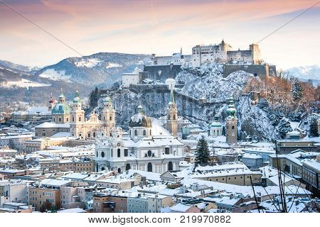Beautiful view of the historic city of Salzburg with Festung Hohensalzburg in winter, Salzburger Land, Austria