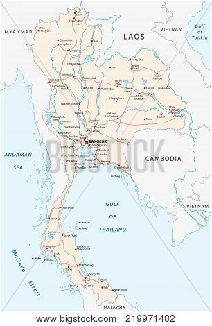 High detailed vector road map of thailand