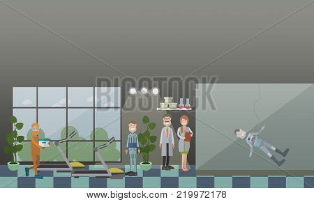 Astronaut training concept vector illustration. Astronauts preparing for their space missions. Physical training, extra-vehicular activity EVA training flat style design elements.
