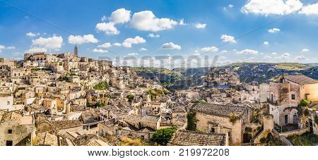 Ancient town of Matera (Sassi di Matera), European Capital of Culture 2019, in beautiful golden morning light, Basilicata, southern Italy