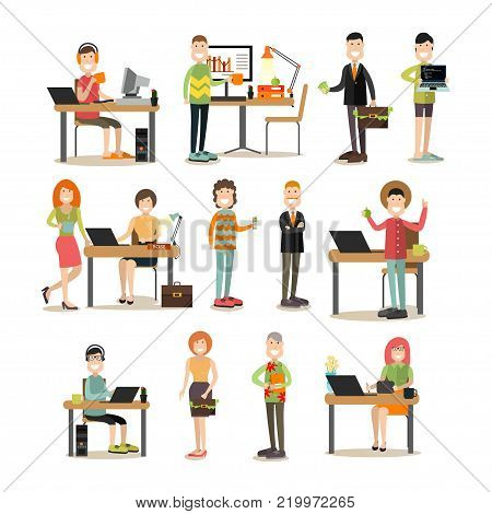 Vector illustration of creative director and his team programmer, creator, website developer, graphic designer. Creative team people symbols, icons isolated on white background. Flat style design.