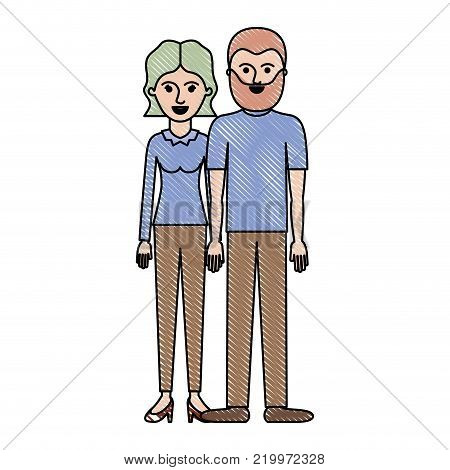 couple in colored crayon silhouette and her with blouse long sleeve and pants and heel shoes with short wavy hair and him with t-shirt and pants and shoes with short hair and beard vector illustration