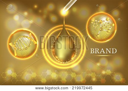 Gold Collagen Serum drop with advertising background ready to use, luxury skin care ad. Illustration vector.