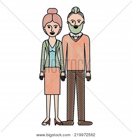 couple in colored crayon silhouette and her with blouse and jacket and skirt and heel shoes with collected hair and him with beard and sweater and pants and shoes with taper fade haircut vector illustration