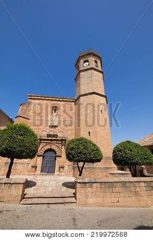 Facade Of Church San Mateo In Banos De La Encina Village