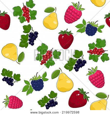 Fruit Berry Seamless Pattern , Juicy Pear and Red Strawberry , Pink Raspberries with Fresh Blackberry, Ripe Blackcurrant and Redcurrant,  Illustration