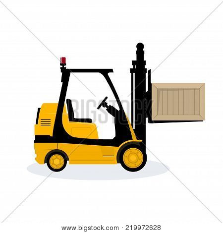 Yellow Forklift Truck Isolated on White Background, Vehicle Forklift Picks up a Box,  Illustration