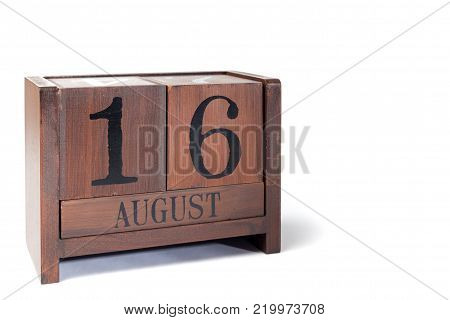 Wooden Perpetual Calendar set to August 16th