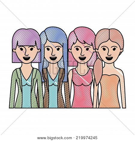women in half body with casual clothes and long and short hair and hairstyle mushroom layered and pigtail in colored crayon silhouette vector illustration