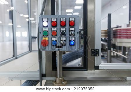 Control panel of an electrical switchgear cabinet. control panel with buttons