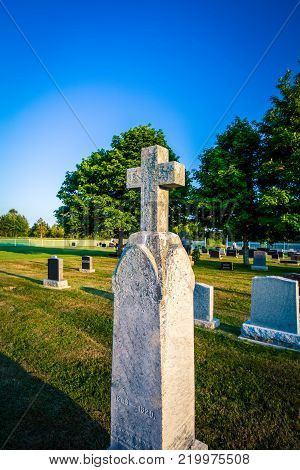 Stone cross at a graveyard in Prince Edward Island
