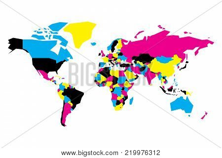 Political map of World. Simplified vector map in CMYK colors.