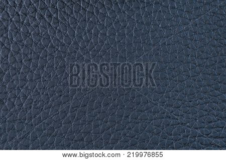 Texture of artificial leather. A dark blue background or leatherette backdrop.