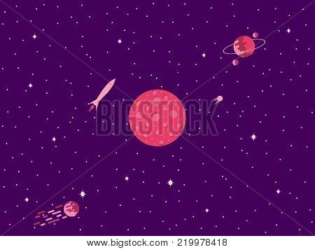 Saturn Flat Style. Planet Of The Solar System. Vector Illustration