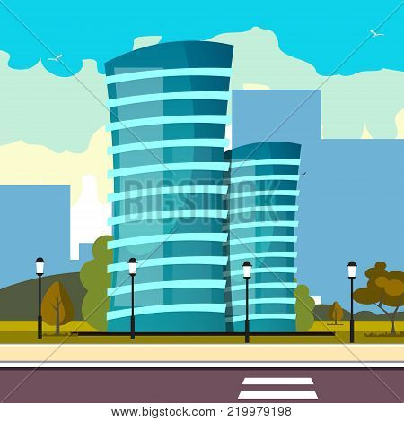 Modern big hight skyscrapers town. Vector illustration.