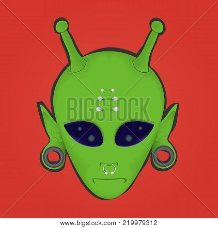 vector illustration of a green alien face with piercings and stretched ears on a red background