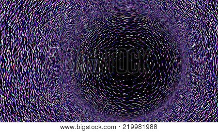 Wide format abstract background, optical illusion of gradient effect. Stipple effect. Rhythmic noise particles. Grain texture. Black background. Full HD wallpaper with colorful strokes