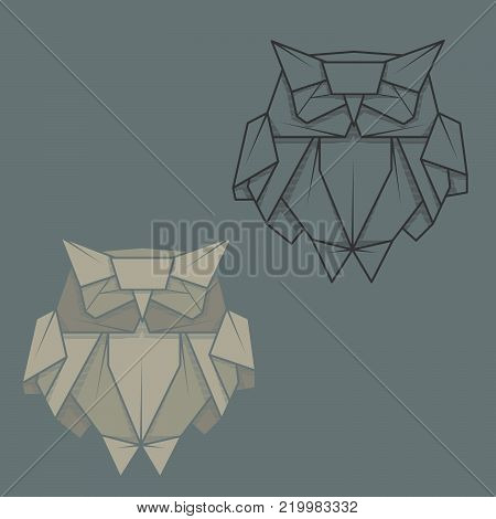 Set vector simple illustration paper origami and contour drawing of owl.