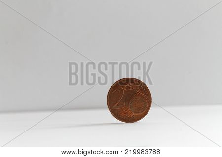 One euro coin on isolated white background Denomination is two euro cents