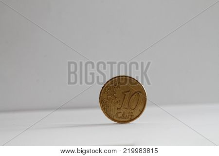 One euro coin on isolated white background Denomination is ten euro cents