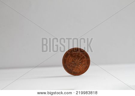 One euro coin on isolated white background Denomination is 2 euro cents - back side