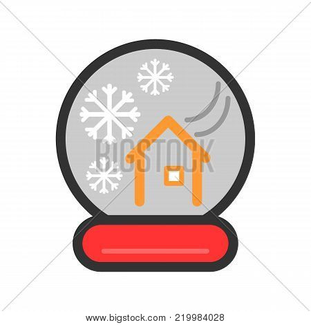 New Year's colorful ball with a house and snow. Vector icon. Linear magic ball isolated. snow globe on white background