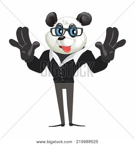 Illustration of cartoon character panda pulling a face and sticking his tongue out