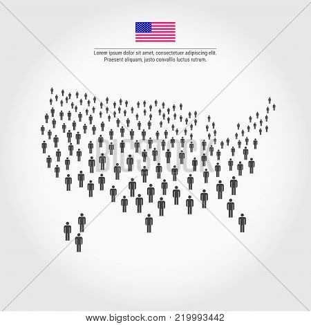 USA People Map. Map of the United States Made Up of a Crowd of People Icons. Background for Presentation - Advertising - Marketing - Poster - Infographic.