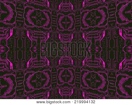 Purple on black circuit board suitable as symmetrical technology background.Digitally altered image.