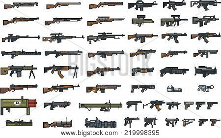 Set of weapon icons in perfect pixel art style. Rifle, pistol, assault rifle, machine gun and other firearms. For your games, retro, business design. Vector clip art with easy colors