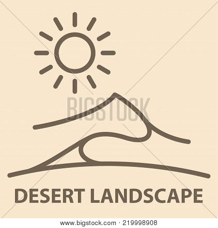 Desert landscape banner in linear style. Desert landscape icon template. Vector illustration.