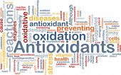 Background concept wordcloud illustration of antioxidants health nutrition poster