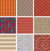 Vector building background wall texture architecture brickwall or stonewall with textured roofing tile and brickwork to build bricklaying and tiling roof backdrop or abstract pattern illustration set. poster